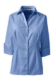 Women's Plus Size 3/4 Sleeve Splitneck No Iron Pinpoint Shirt