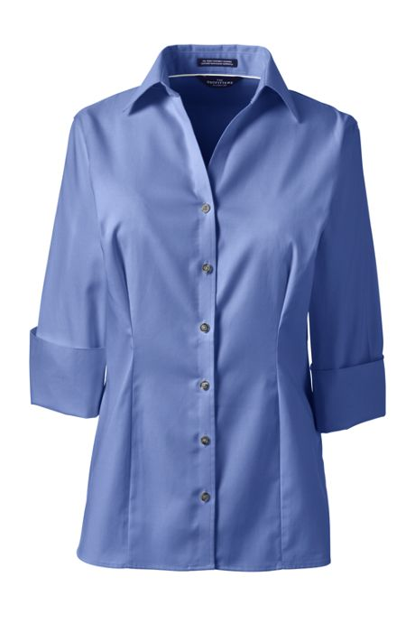 Women's Petite 3/4 Sleeve Splitneck No Iron Pinpoint Shirt