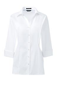 Women's Plus Size 3/4 Sleeve Splitneck No Iron Pinpoint Shirt