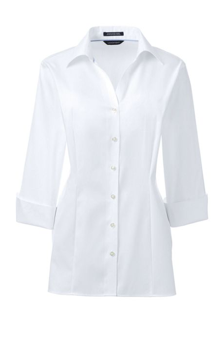 Women's 3/4 Sleeve Splitneck No Iron Pinpoint Shirt