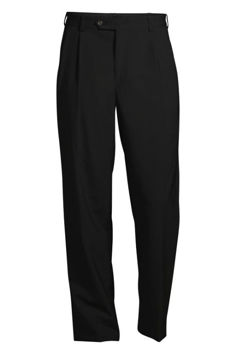 Men's Pleated Front Washable Wool Suit Trousers