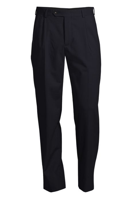 Men's Big Uniform Pleat Washable Wool Trousers