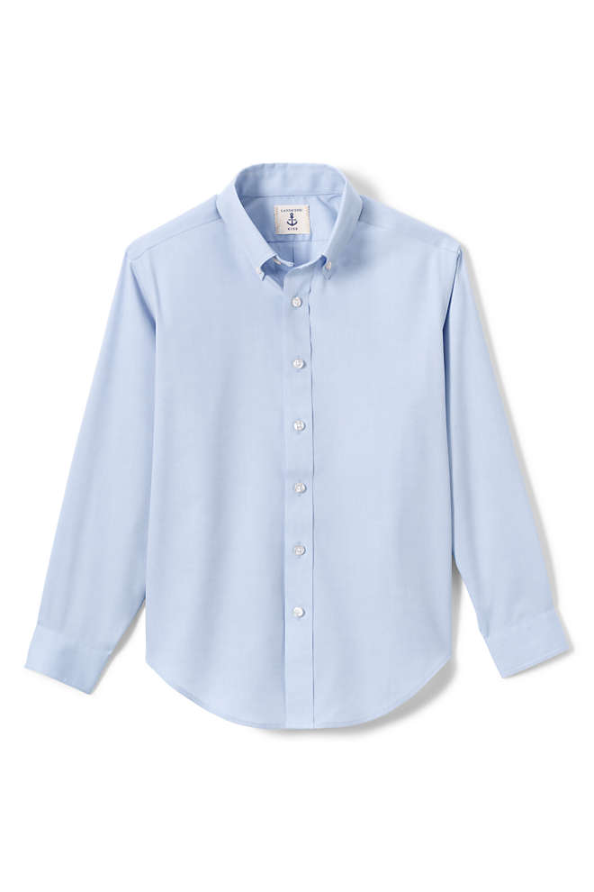 Boys Long Sleeve No Iron Pinpoint Dress Shirt, Front