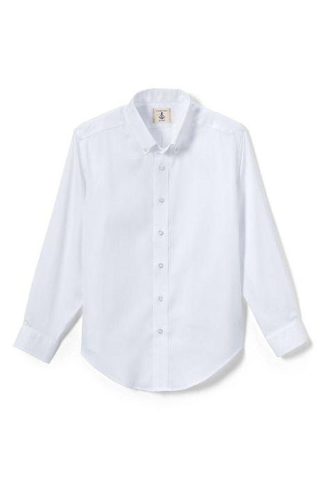 Boys Long Sleeve No Iron Pinpoint Dress Shirt