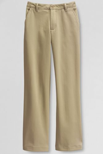 Girls' Plus Pre-hemmed Plain Front Stain Resistant Stretch Chino Pants