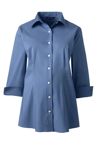 Women's Maternity 3/4 Sleeve Stretch Broadcloth ShirtWomen's Maternity 3/4 Sleeve Stretch Broadcloth Shirt
