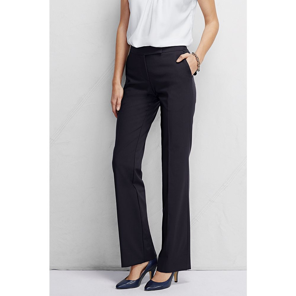 Lands' End Women's Tall Washable Wool Straight Modern Pant