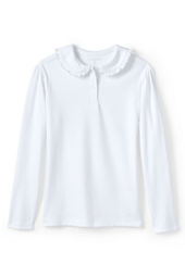 School Uniform Girls' Long Sleeve Ruffle Collar Peter Pan Knit Top