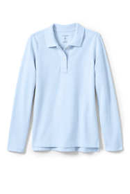 Little Girls Long Sleeve Fem Fit Mesh Polo