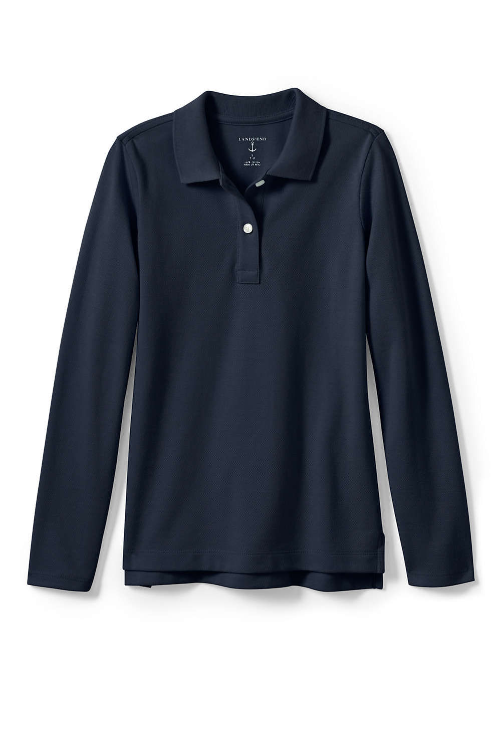 9dcf3d1d6 School Uniform Girls Fem Fit Long Sleeve Mesh Polo from Lands' End