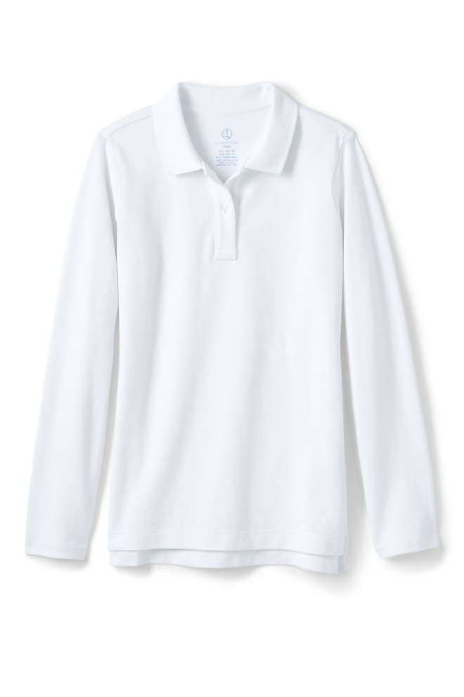 School Uniform Girls Long Sleeve Feminine Fit Mesh Polo Shirt, Front