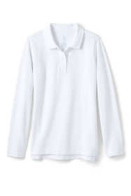 School Uniform Girls Long Sleeve Feminine Fit Mesh Polo Shirt