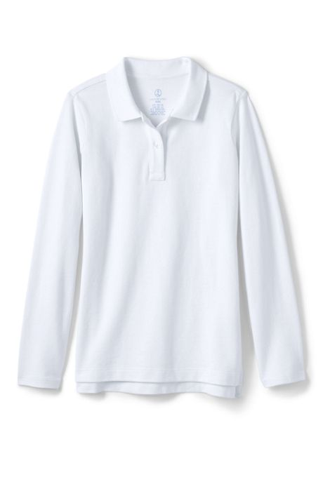 Little Girls Long Sleeve Feminine Fit Mesh Polo Shirt