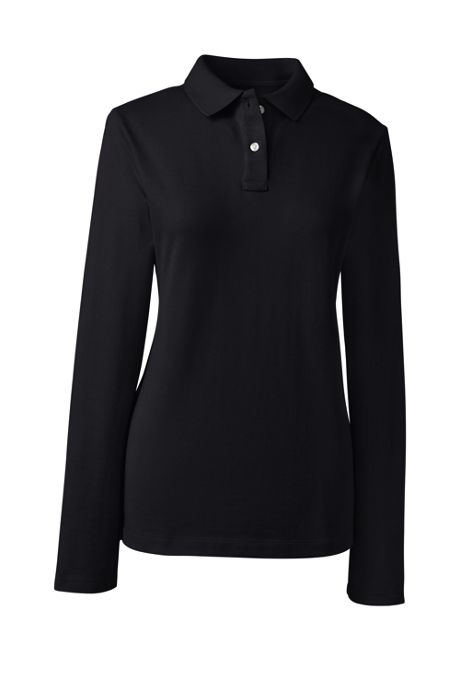 School Uniform Women's Long Sleeve Feminine Fit Mesh Polo Shirt