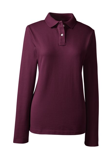 School Uniform Women's Fem Fit Long Sleeve Mesh Polo