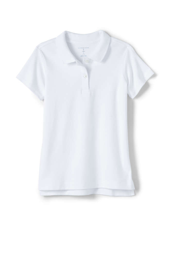 School Uniform Girls Short Sleeve Feminine Fit Interlock Polo Shirt, Front