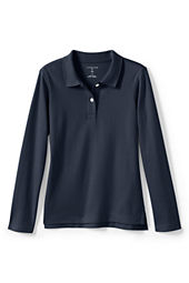 School Uniform Long Sleeve Feminine Fit Interlock Polo Shirt