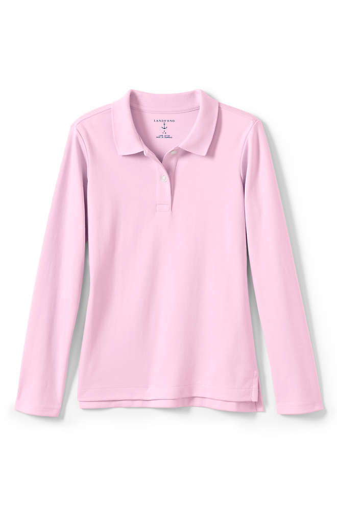 Little Girls Long Sleeve Feminine Fit Interlock Polo Shirt, Front