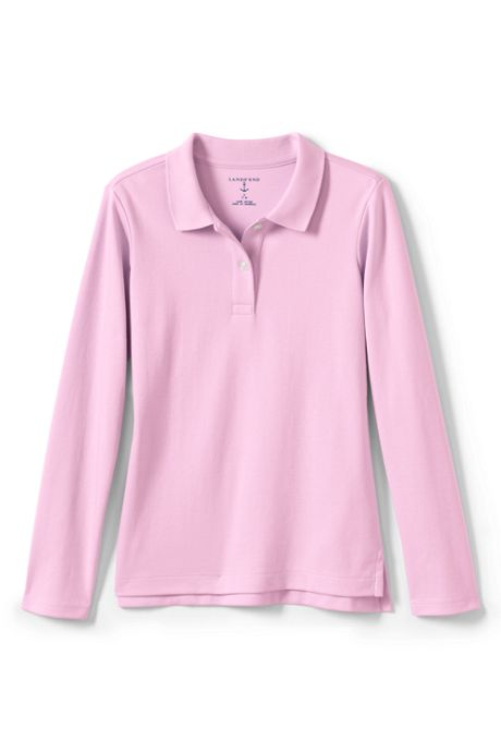 School Uniform Little Girls Long Sleeve Feminine Fit Interlock Polo Shirt