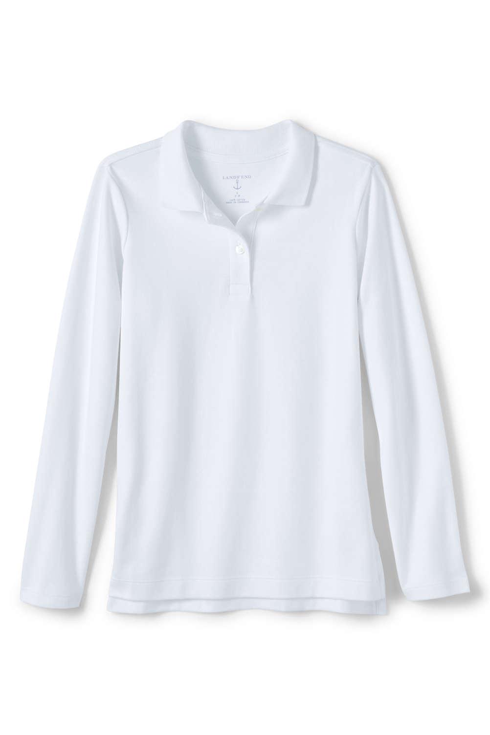 05995896001167 Girls Long Sleeve Feminine Fit Interlock Polo Shirt from Lands' End