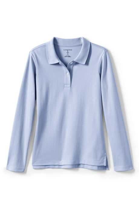 School Uniform Girls Long Sleeve Feminine Fit Interlock Polo Shirt