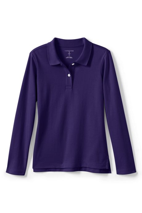Girls Long Sleeve Feminine Fit Interlock Polo Shirt