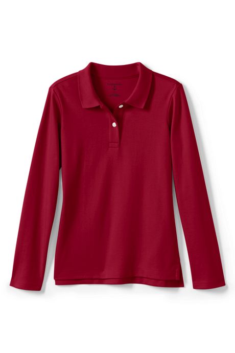 School Uniform Girls Long Sleeve Fem Fit Interlock Polo