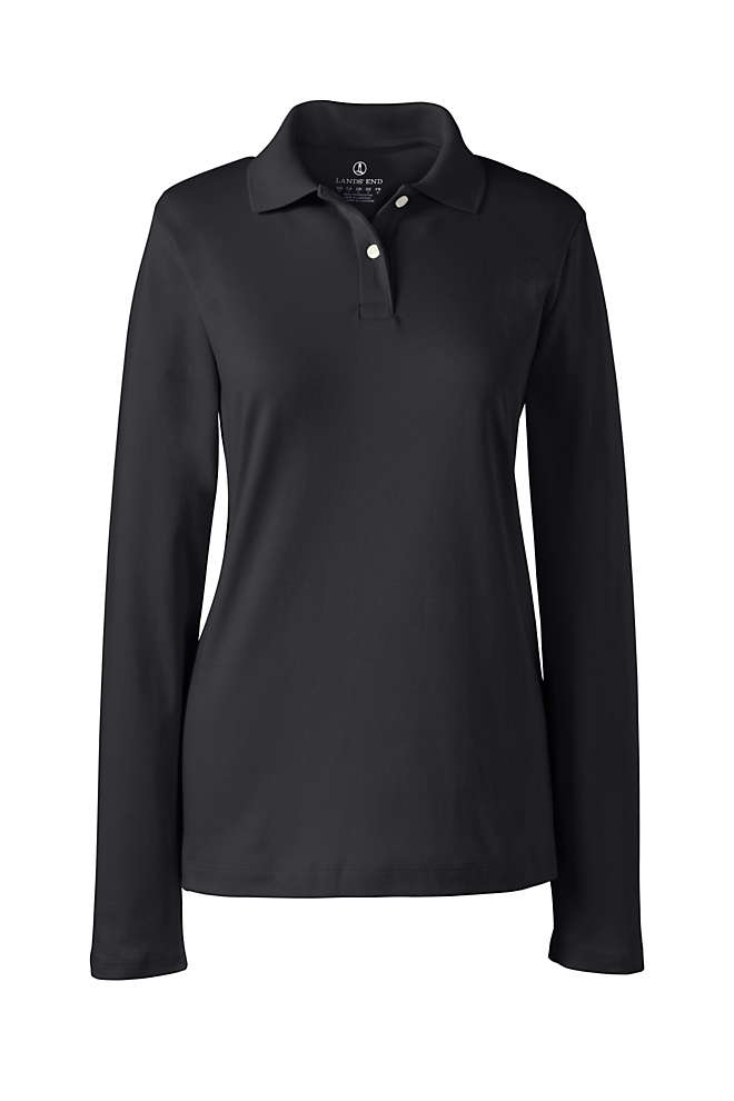 Women's Long Sleeve Feminine Fit Interlock Polo Shirt, Front