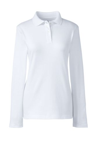 Women's Long Sleeve Fem Fit Interlock Polo by Lands' End