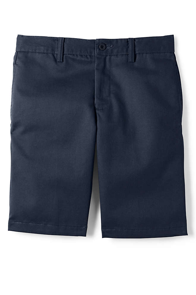 School Uniform Boys Cotton Plain Front Chino Shorts, Front
