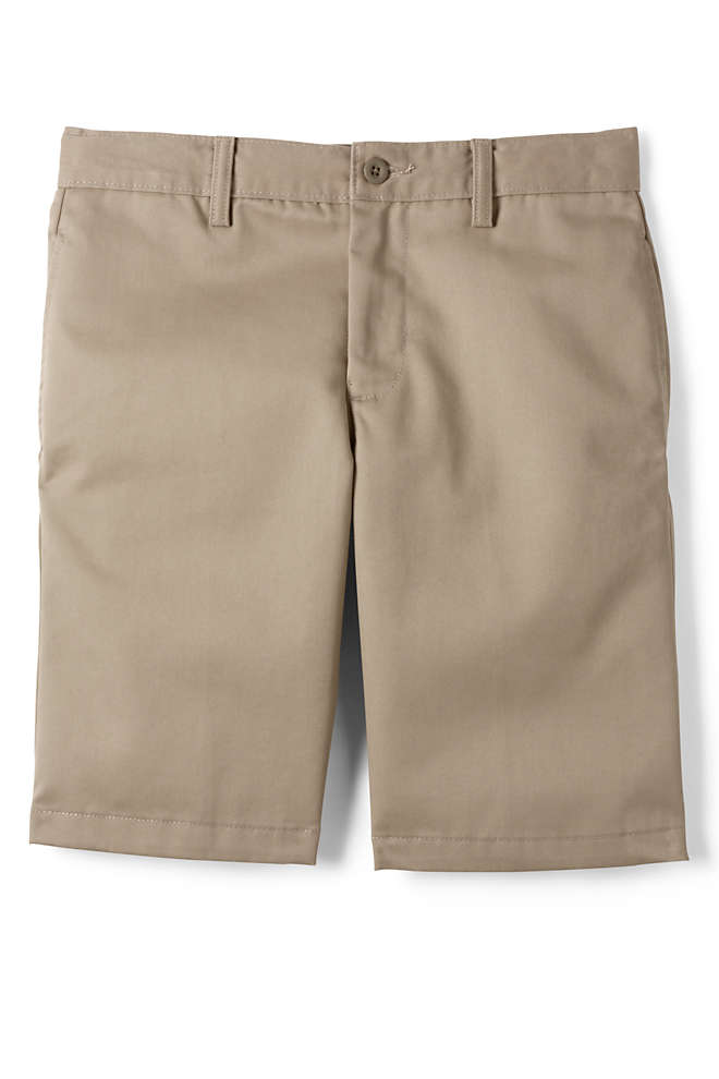 Little Boys Slim Cotton Plain Front Chino Shorts, Front