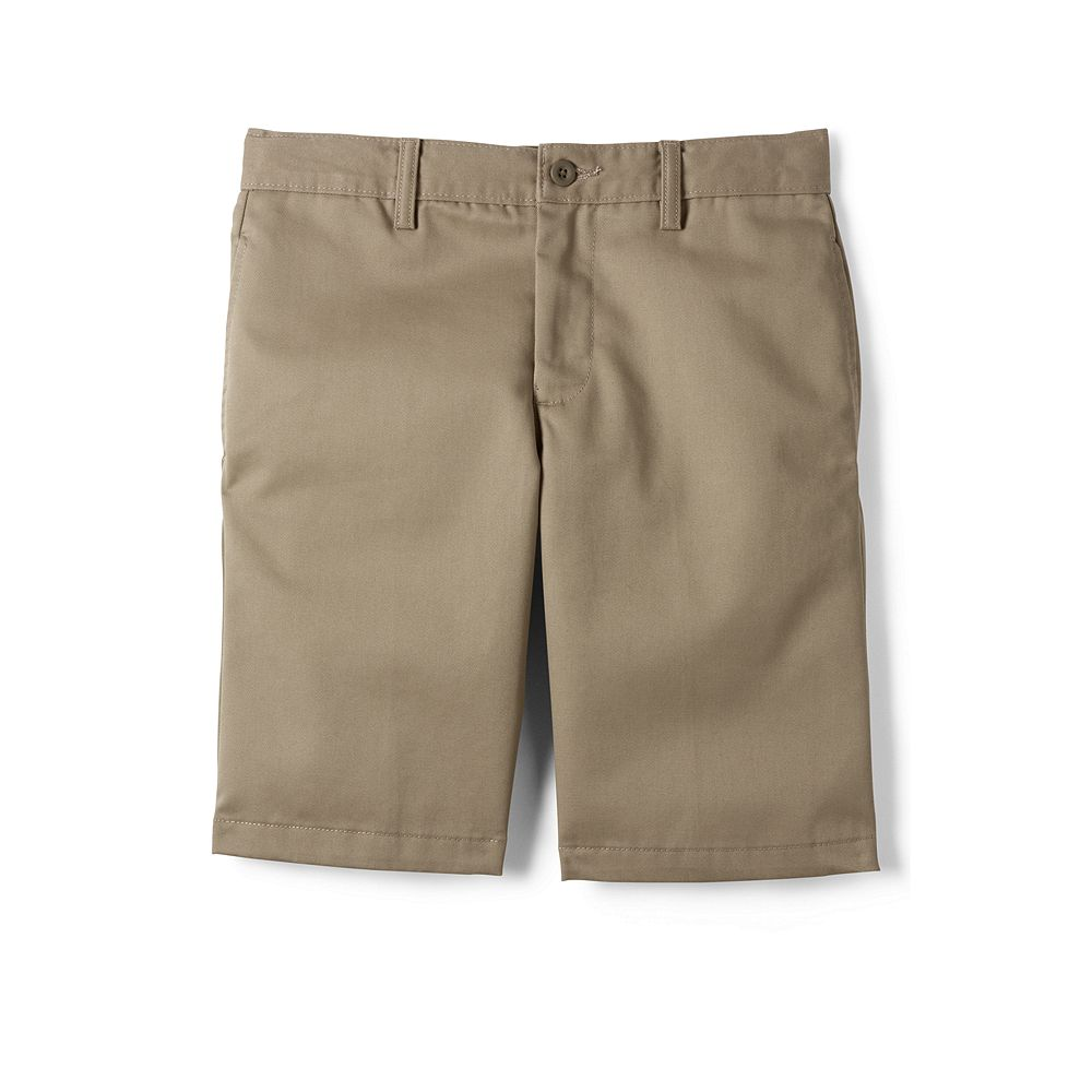 Lands' End School Uniform Boys' Husky Plain Front Stain & Wrinkle Resistant Chino Shorts