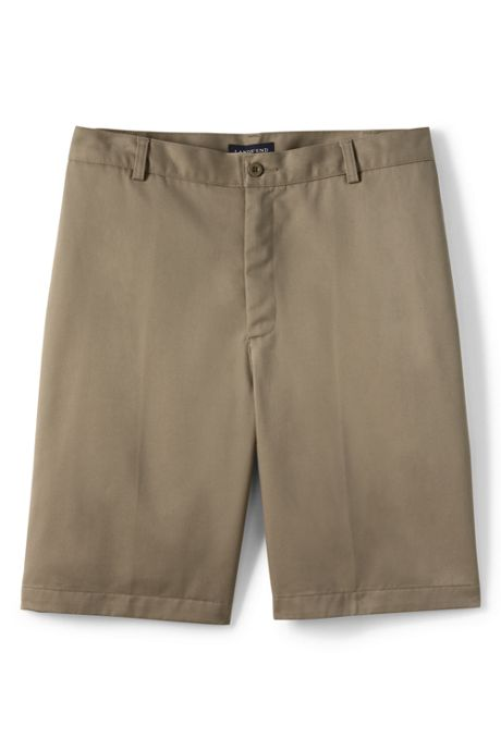 School Uniform Men's Long Cotton Plain Front Chino Shorts
