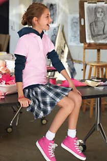 School Uniform Girls Side Pleat Plaid Skort Above Knee, alternative image