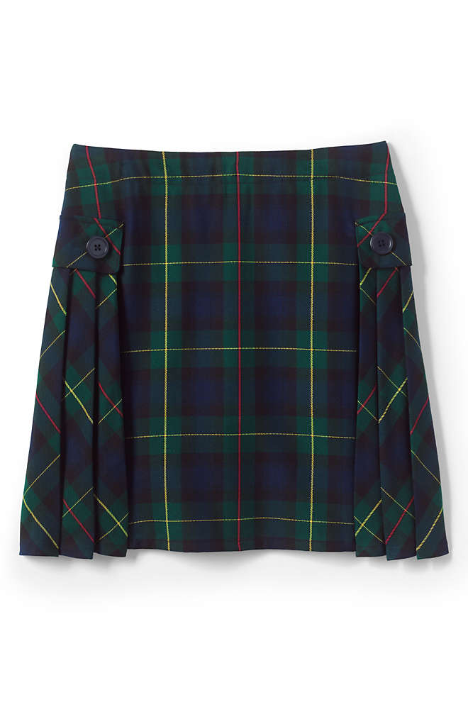School Uniform Girls Side Pleat Plaid Skort Above Knee, Front