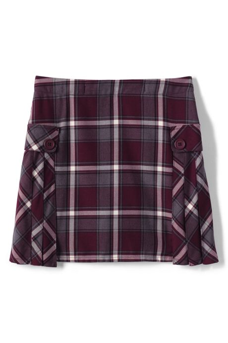 Little Girls Side Pleat Plaid Skort Above Knee