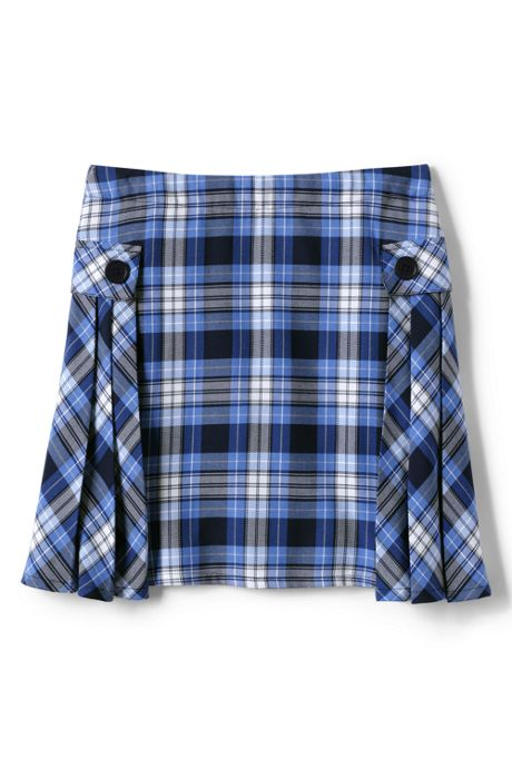 School Uniform Girls Side Pleat Plaid Skort Above Knee
