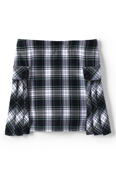 School Uniform Little Girls Slim Side Pleat Plaid Skort Above Knee