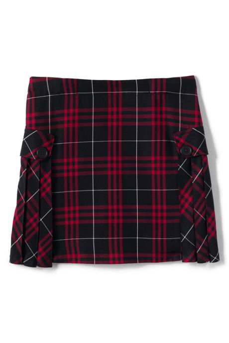 School Uniform Girls Slim Side Pleat Plaid Skort Above Knee