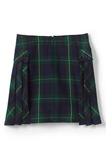 School Uniform Girls Side Pleat Plaid Skort Above Knee, Back