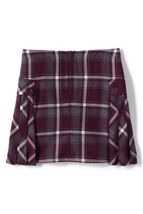 School Uniform Girls Plus Side Pleat Plaid Skort Above Knee