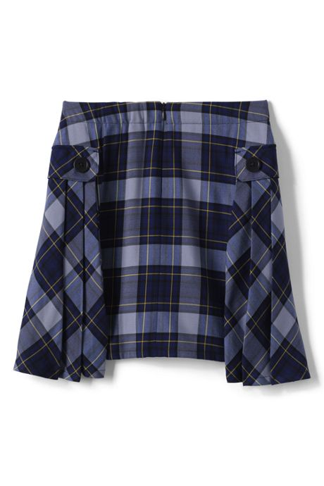 Girls Slim Side Pleat Plaid Skort Above Knee