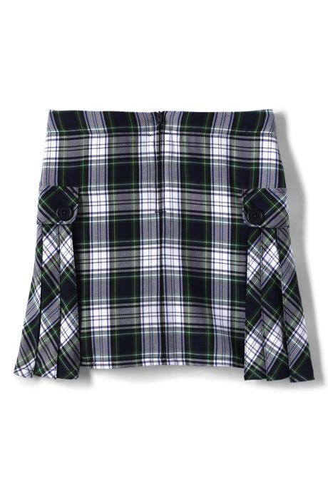 Little Girls Slim Side Pleat Plaid Skort Above Knee