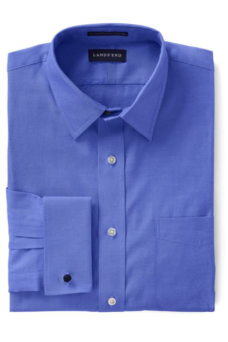 Men's Big Long Sleeve Straight Collar Supima Pinpoint with French Cuff Dress Shirt