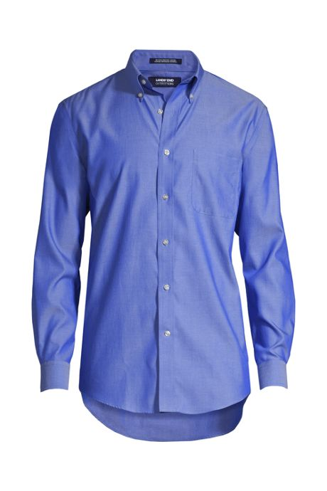 Men's Long Sleeve Buttondown Solid No Iron Pinpoint Shirt