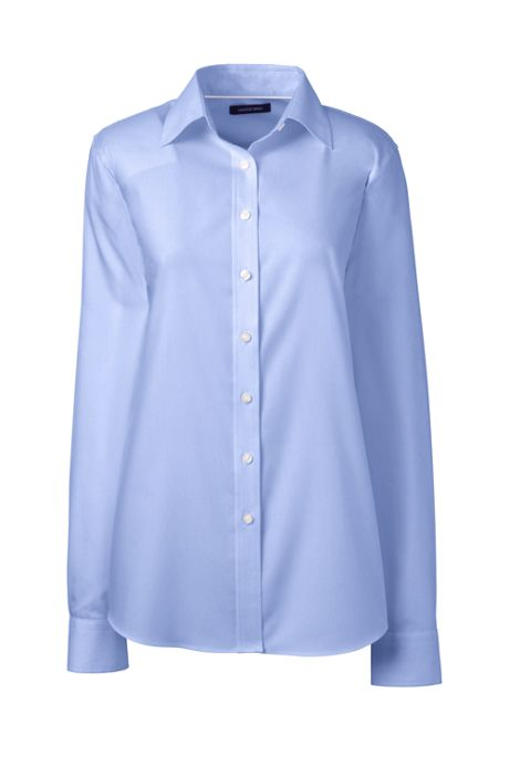 Women's Petite Long Sleeve No Iron Pinpoint Shirt