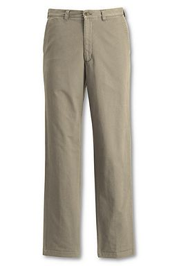 Lands' End Plain Front Flannel-lined Chino Pants