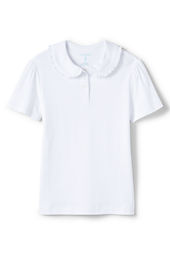 Girls' Short Sleeve Ruffle Collar Peter Pan Knit Top