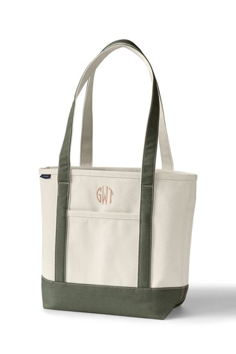 Medium Natural Open Top Long Handle Canvas Tote Bag