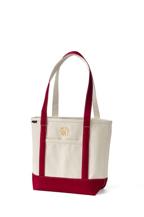 Medium Natural Open Top Long Handle Canvas Tote Bag